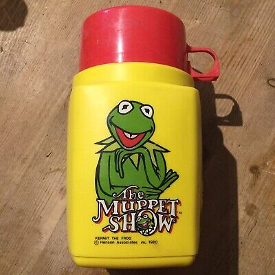 Vintage Yellow Thermos Roughneck Flask, Muppet Show Kermit Frog Jim Henson 1980