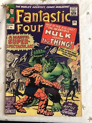 Fantastic Four #25. April 1964. Hulk Versus Thing. Massive Silver Age Classic!!