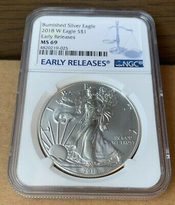 2018-W Burnished $1 American Silver Eagle NGC MS69 Blue Early Releases Label