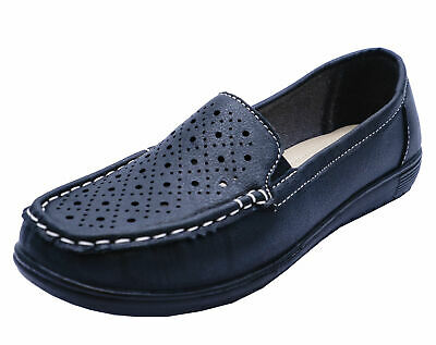 Ladies Black Amblers Cherwell Slip-On Flat Comfort Loafers Moccasin Shoes