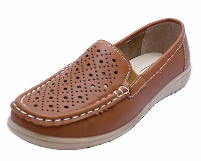 Ladies Brown Amblers Cherwell Slip-On Flat Comfort Loafers Moccasin Shoes