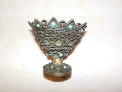Antique Eastern / Middle Eastern Brass Cup With Applied Decoration & Blue Stones
