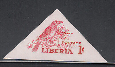 Liberia # 341 MNH IMPERF Gray Color Missing 1953 Bird Issue Triangle