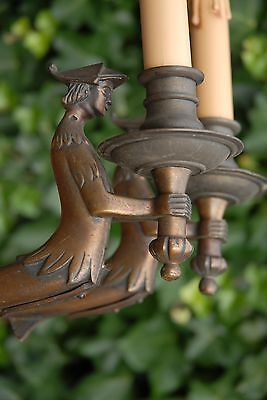 An Antique Pair Bronze Figural 1-light Wall Sconces