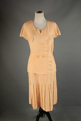 dfacd77771cee VINTAGE 1960'S HIPPIE Chic Peach Pink Long Dress Nightgown with Lace ...