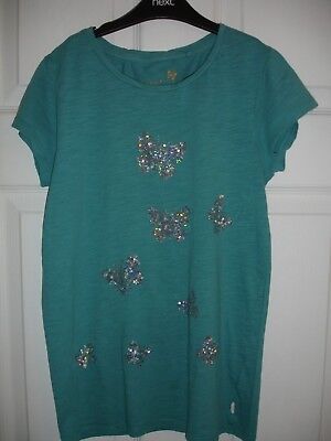 Girls Next Turquoise/Teal/Green/Blue Sparkly Butterfly T-shirt Top Size 12 Years