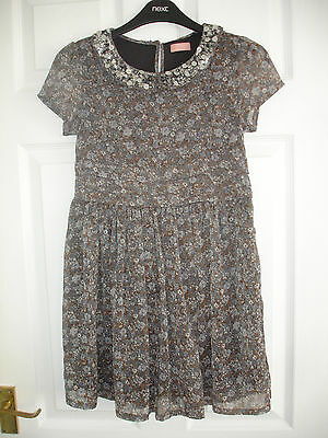Girls Next Grey & Blue Floral Party Dress with Sequin Collar Size10 Years