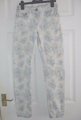 Girls White & Blue Next Floral Jeans/Trousers Size 11 Years