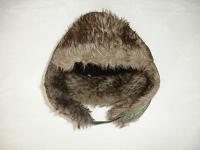 Boys' Khaki Green Trapper Hat With Faux Fur Lining Size 6-8 Years