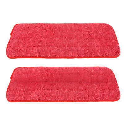 2 Pack Free Hand Washing Spray Mop Cloths/Pads, Polyester Fiber, No-lint Red