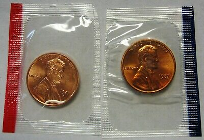 1987-P and 1987-D CH BU Lincoln Cents in Original Mint Cello Packs   DUTCH