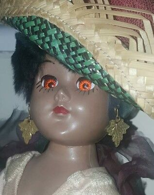 """Vintage 1970s Collectible Jamaican Doll from Nassau Bahamas souvenir 11.5"""" tall"""