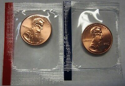2005-P and 2005-D CH BU Lincoln Cents in Original Mint Cello Packs   DUTCH