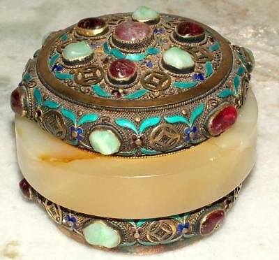 Antique Gold Gilted Sterling Silver Filigree Enamel Jewel & Jade Covered Box