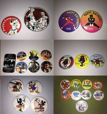 You Pick Vintage 80s 90s TV & Movie Pins Lot Garfield Snoopy Muppets Batman