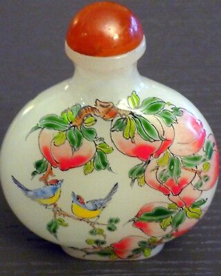 China Glass Snuff bottle: birds-flowers   鼻烟壶  Snuff bottle in vetro