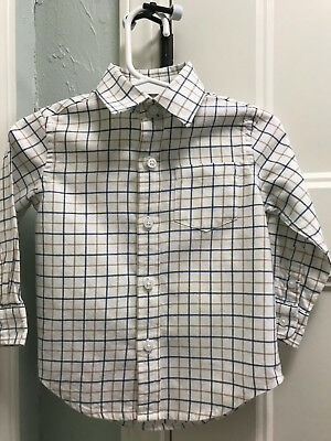Janie and Jack Shirt Boys Sz 12-18 Mo Cream/Blue Plaid VGUC Button-Down