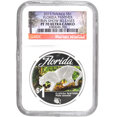 2015 $1 Proof Tuvalu Silver Florida Panther 1oz NGC PF70 UC Fun Show Releases Fl