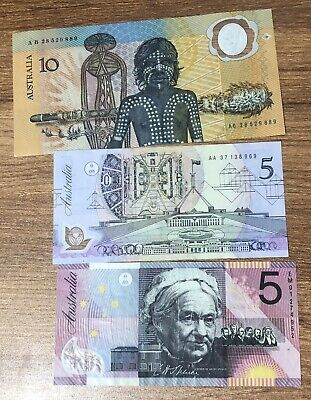 Australia  $5 Five Dollar Banknote1993,2001 &1988 $10 With Cir Condition!