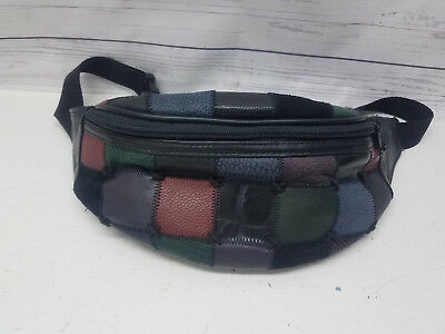 Fanny Pack Genuine Leather Waist Bag Patchwork Multicolored Adjustable Strap