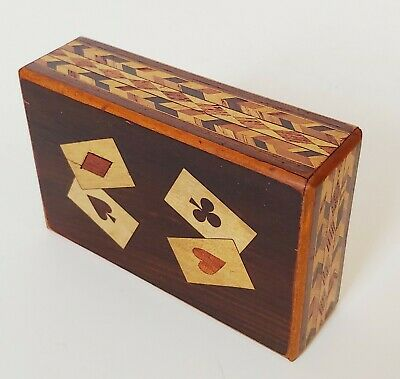 Antique Wood Inlay Marquetry Playing Card Puzzle Box Japanese