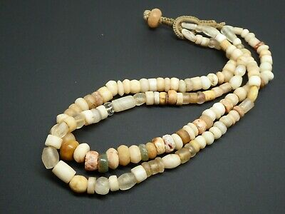 Ancient Mixed Excavated Stone Beads Glass Beads 1200-1700 Double Std. Necklace
