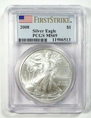 2008 AMERICAN EAGLE Silver Bullion $1 Coin • PCGS MS69 FIRST STRIKE