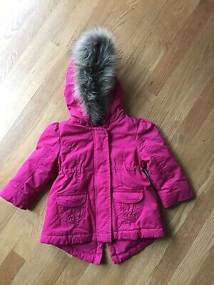 bf3679ed7 NWT Old Navy Girls Toddler 18-24 Mos Hot Pink Parka Coat Hooded Faux Fur
