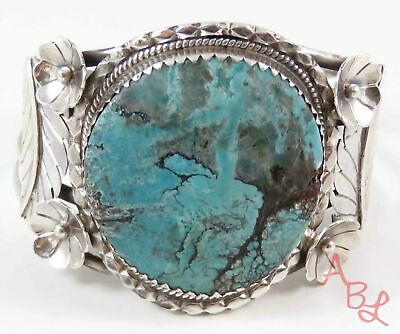 "Rare Sterling Silver Vintage 925 Navajo Cuff Turquoise Bracelet 6.5"" (65.6g)"