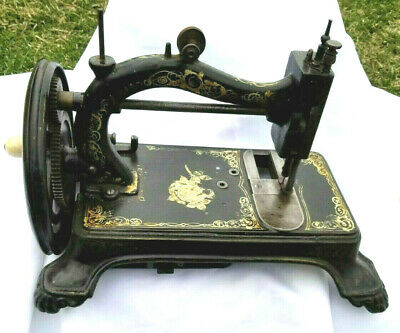 Beautiful 1890's cast Iron paw foot L.O. Dietrich Saxonia sewing machine.