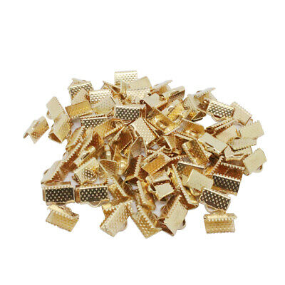 100pcs Metal Crimp End Caps Fold Over Clasps Cord End Clips Findings 6mm