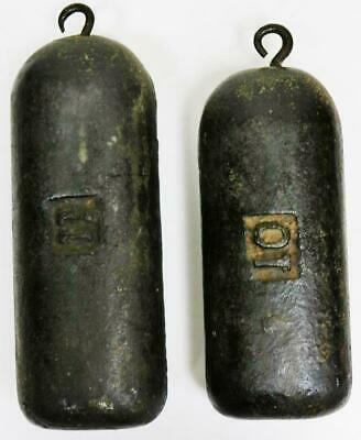 Pair Antique Scottish Cast Longcase Grandfather Clock Weights, Weigh 11lb & 10lb