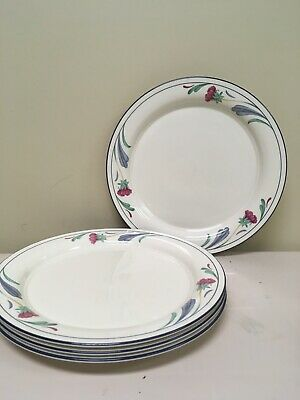 4 Lenox Chinastone Poppies on Blue DINNER plates