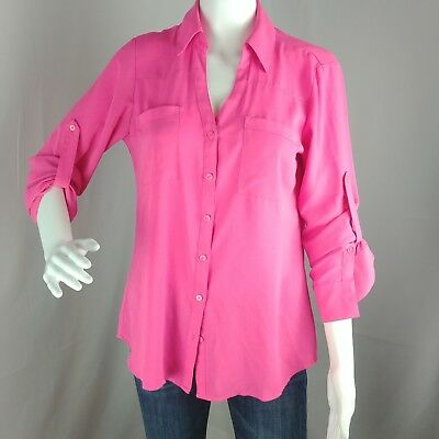 0606e6ac T1EXPRESS The Portofino Shirt Button Down Blouse Top Hot Pink Tab Sleeves  Size S