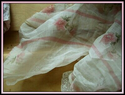 Antique French Edwardian Delicate Gossamer Sheer Pink Rose Stripe Fabric Lace