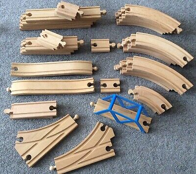Wooden Train Track Bundle 34 Pieces Compatible With Brio, Thomas Etc G/condition