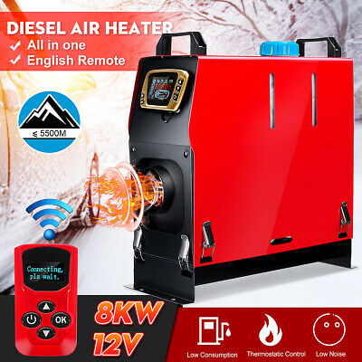 8KW 12V Diesel Air Heater All In One LCD Thermostat Remote For Truck Boat Bus RV