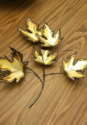 Signed Ray Berger Mid Century Modern Metal Wall Sculpture Maple Leaves