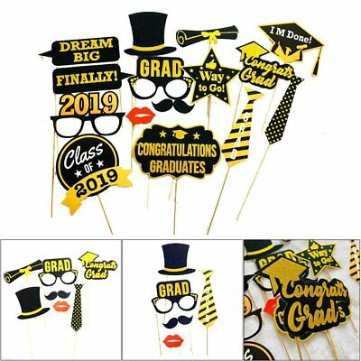 2019 Grad Party Themed Graduation Day Photo Booth Props Fun Game Cutouts AK