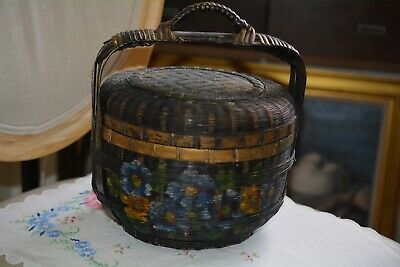 Antique Chinese Woven Rope Covered Basket Hand Painted With Handle