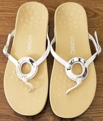 Accent Vionic Karina White Womens Leather Thong Silver Tone Sandals Yvfyb7mI6g