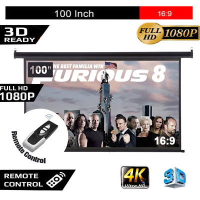 """100"""" Inch 16:9 HD Projector Screen Portable Electric Motorised TV Projection 3D"""