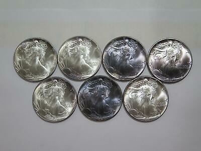 7- American Eagle 1987 $1 Silver 999 1Oz Toned U.s. Mint Type Coin Lot