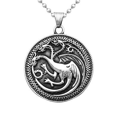 Engraved Game of Thrones Three Heads Dragon Round Pendant Necklace Jewelry