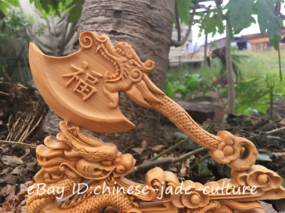 """9"""" Chinese Natural Boxwood Hand Carving Fengshui Zodiac Dragon Axe 府上有龙 Statue"""
