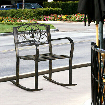 Outdoor Metal Rocking Chair Porch Seat Patio/Backyard/Park/Lawn/Deck Bench Brown