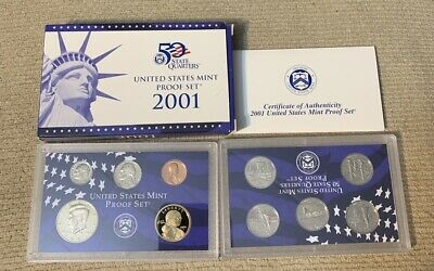 2001-S 10 Coin Proof Set Original Government Packaging W/COA-