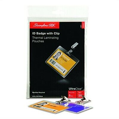 Swingline GBC ID Badge Clips Clear Badge Holder Clip 100 per Pack 1122897 for sale online