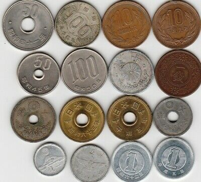 16 different world coins from JAPAN