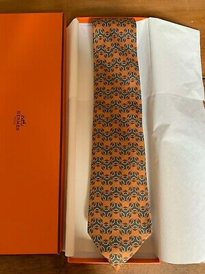 c90ff09a933b HERMES TIE - 100% SILK - ORANGE with SHEEP JUMPING OVER STILES ...